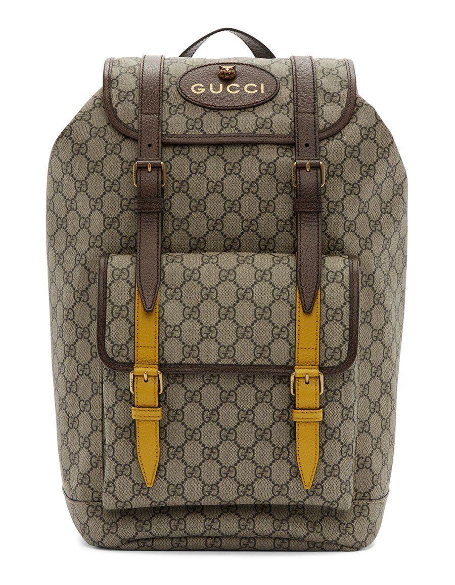 c1a0a480804a GUCCI Beige   Brown GG Supreme Flap Backpack · VERGLE Men Bags