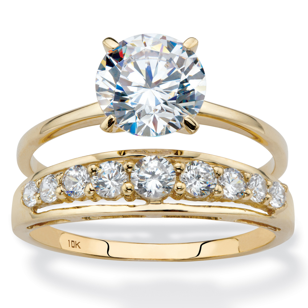 Round Cubic Zirconia 2Piece Solitaire and ChannelSet