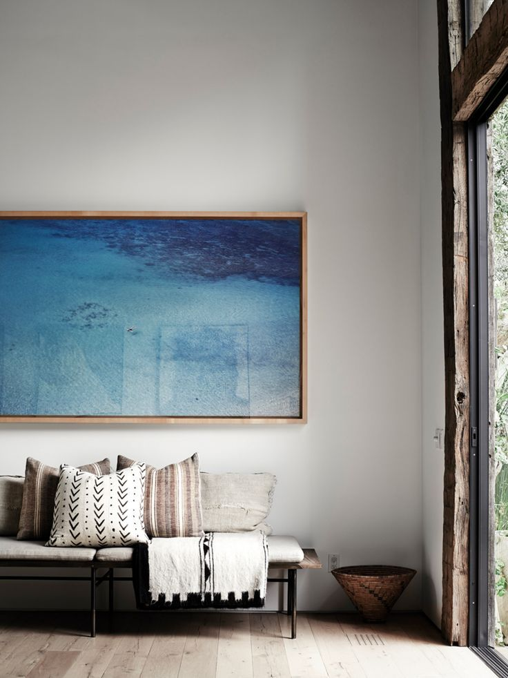 bright blue statement wall art in the entry way   Feng ...