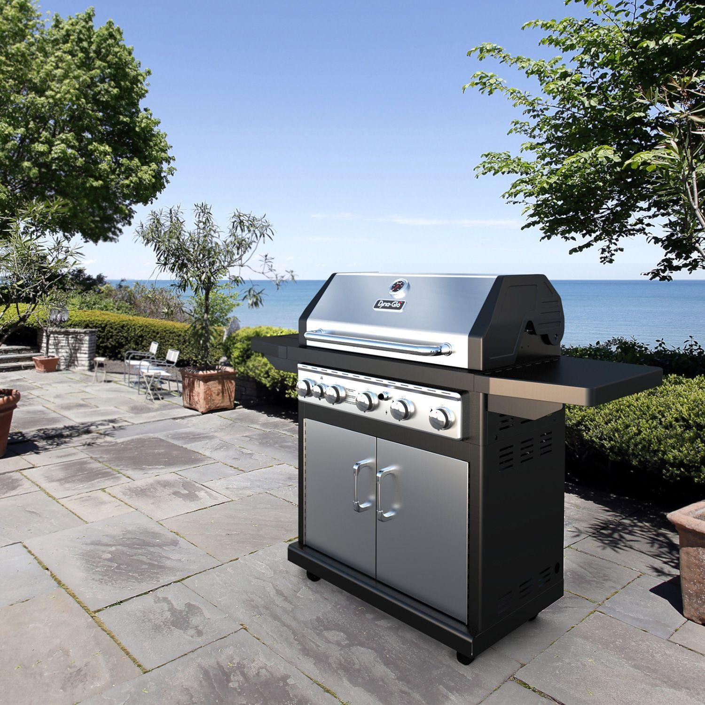 dyna glo premium 79 000 btu 5 burner propane gas grill with side