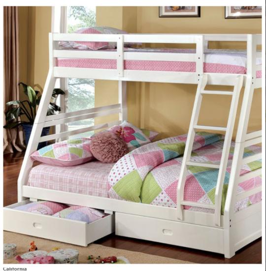 16 California Twin/Full Bunk Bed in White