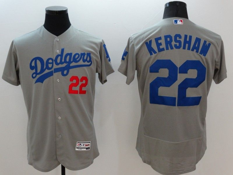 6c6472cf0 Los Angeles Dodgers  22 Clayton Kershaw Grey New Cool Base Stitched MLB  Jersey