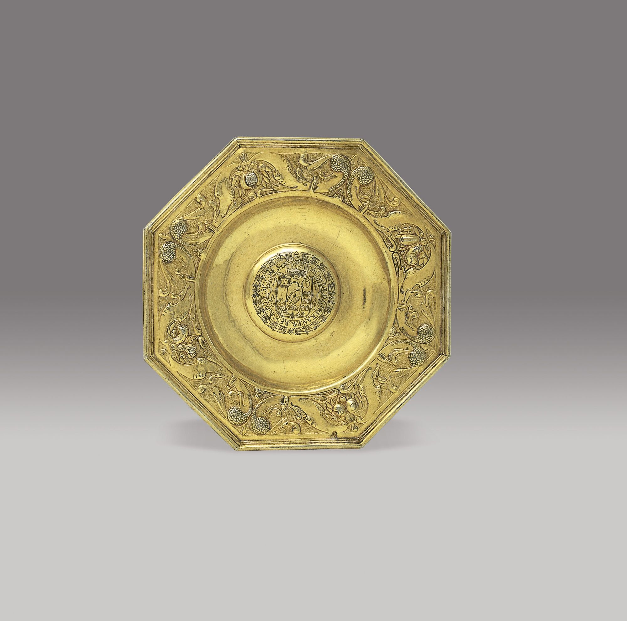 Andreas Eckhardt andreas eckhardt silver gilt octagonal dish the central