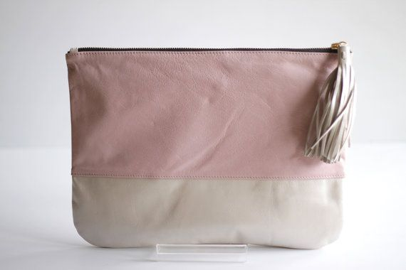 Two-toned Leather Clutch