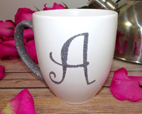 Glam Initial Glittered Mug