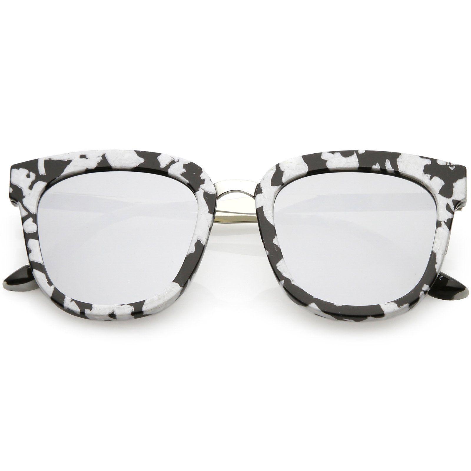 b7f5ce4640948 ... Horn Rimmed Sunglasses Metal Nose Bridge Colored Mirror Square Flat Lens  49mm  sunglasses  frame  sunglass  oversized  mirrored  summer  sunglassla  ...