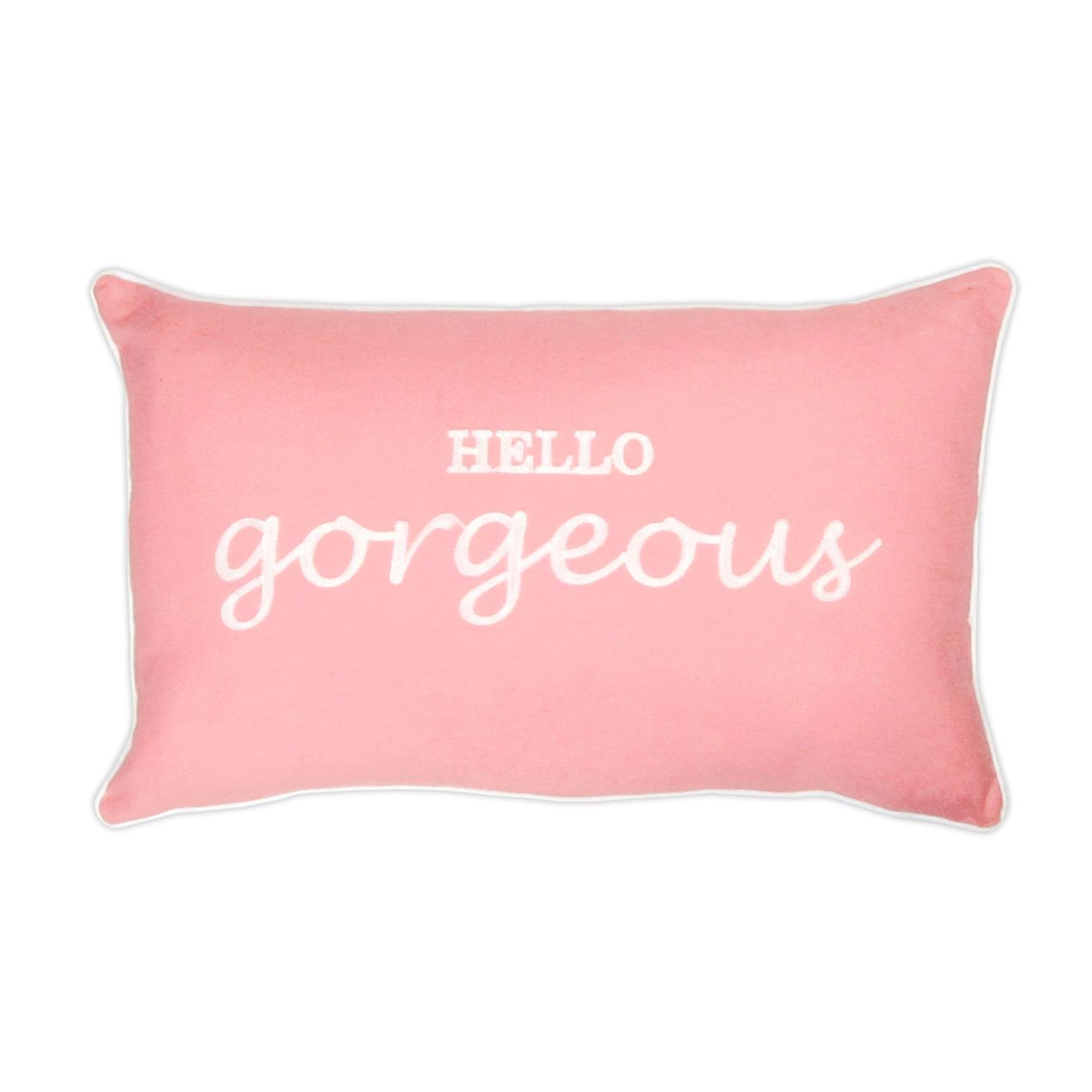 Light Pink Hello Gorgeous Pillow- 19 x 19-in   Sitting Room ...
