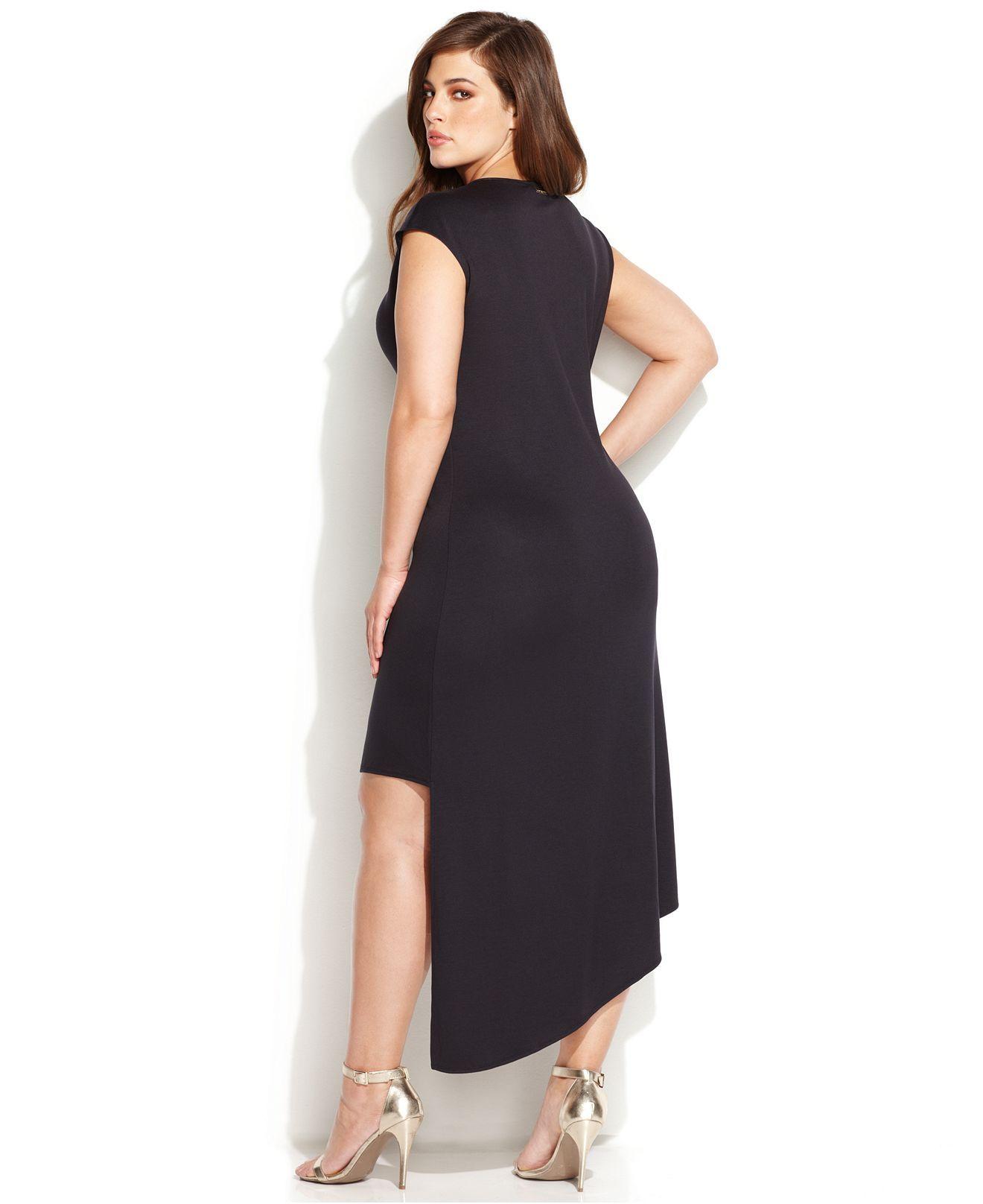2dc00c204c8 MICHAEL Michael Kors Plus Size Cap-Sleeve High-Low Dress - Plus Size Dresses  - Plus Sizes - Macy s