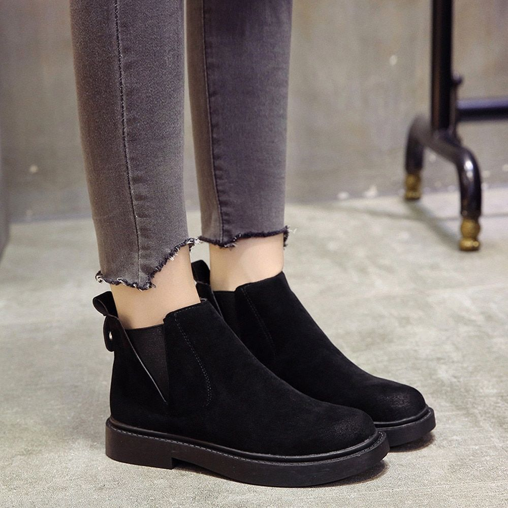 966ad2048c2 YOUYEDIAN Women Boots Slip On Black Ankle Boots For Women Flat Low Heel  Winter Female Shoes