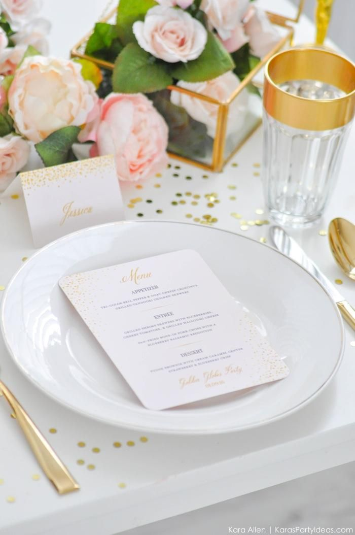 #placesetting Chic Pink and Gold Golden Globes Party