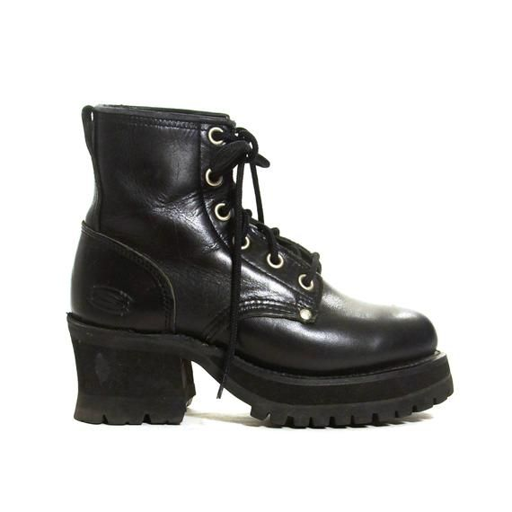 d8259cb8c88 Chunky Sketchers Ankle Boots Vintage 90s Black Lace Up Medium High Heel  Booties Women s Size 8