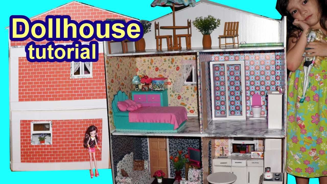 Tutorial: How to make a cardboard dollhouse for Barbie, Monster High ...