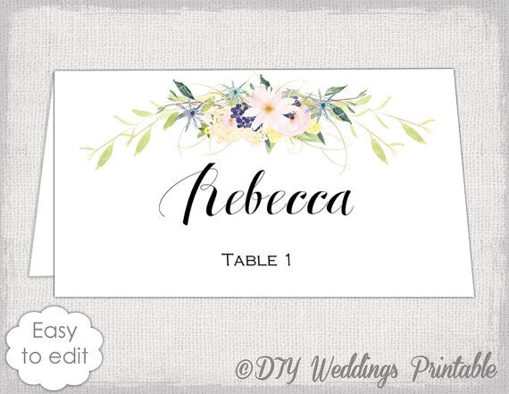 Place Card Template Eden Name Cards Diy Flower Wreath Garland Wedding Fl You Edit Word Avery 5302