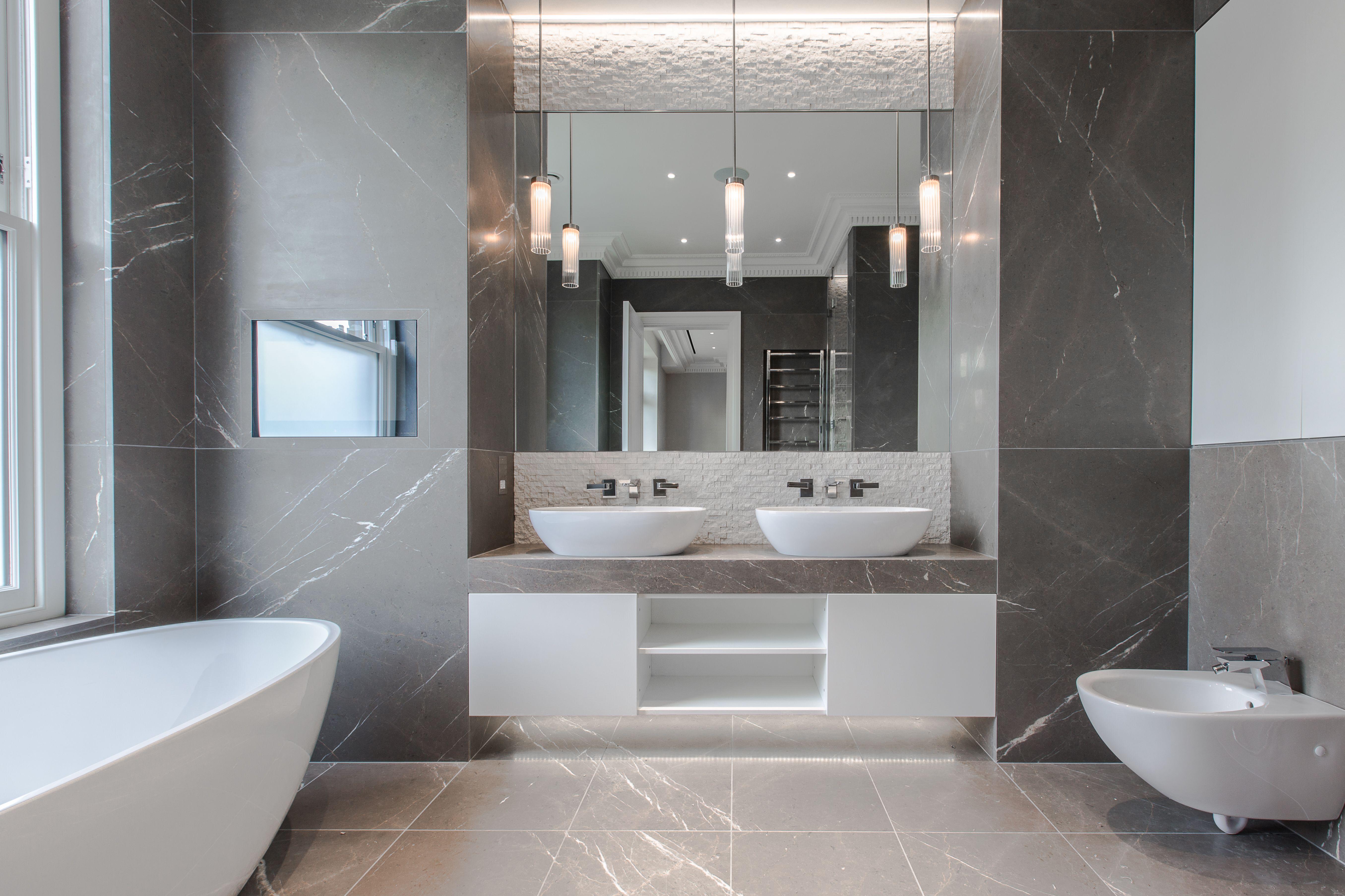 north london townhouse  stunning warm grey marble master