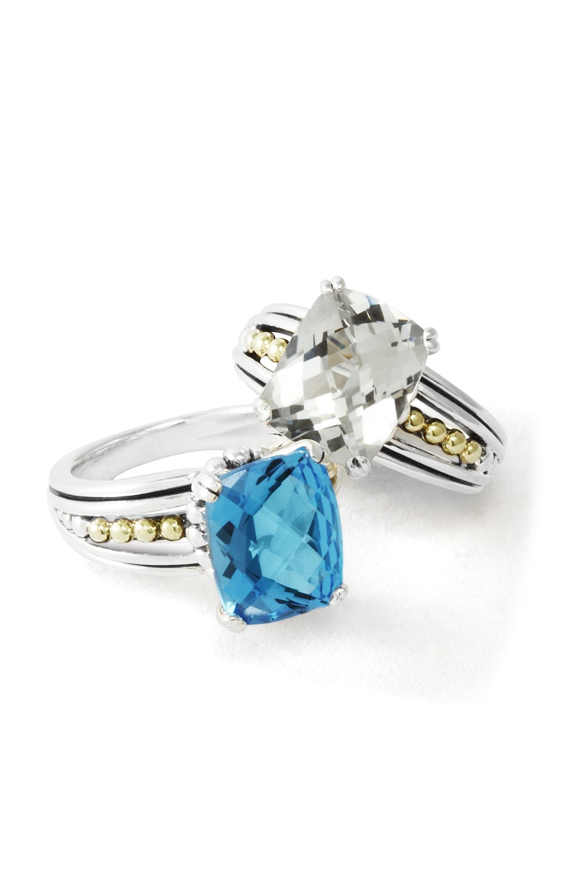 Blue and white topaz rings. LAGOS Jewelry | Prism collection.