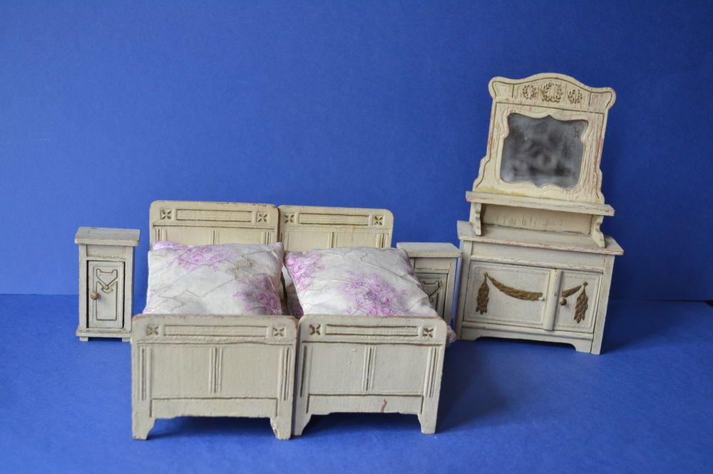 antikes Puppenstuben Schlafzimmer Gottschalk ? Betten Nachttisch - schränke für schlafzimmer
