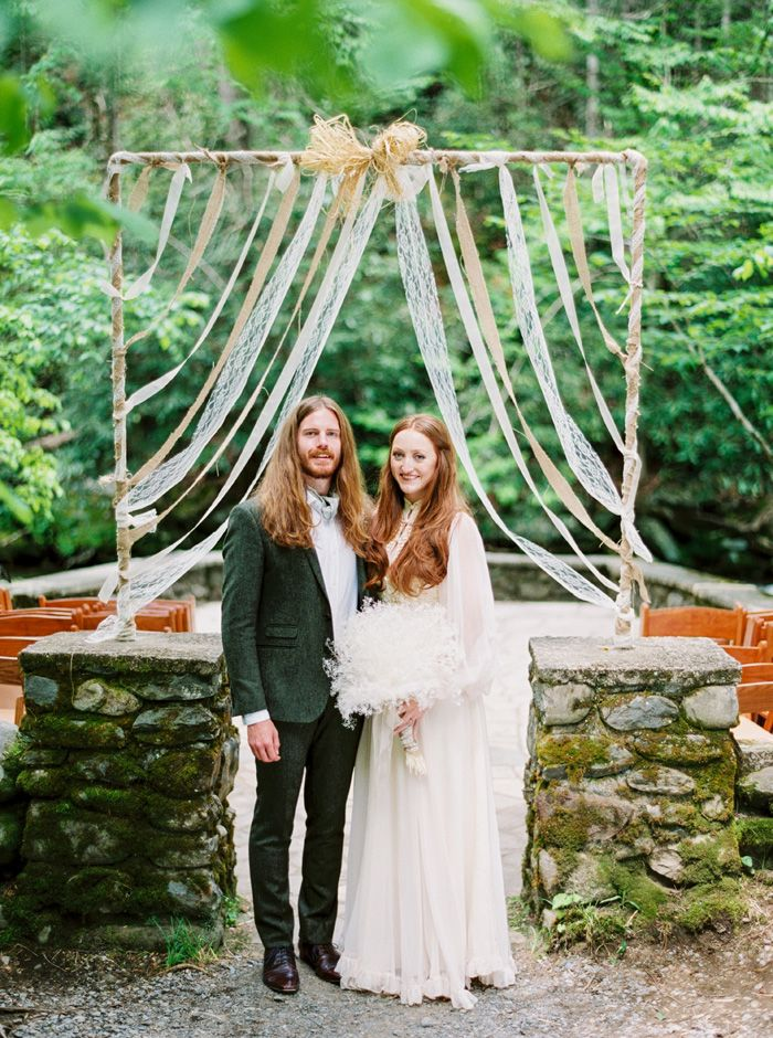 A Bride In Vintage 70s Wedding Gown and the groom wedding portraits | fabmood.com
