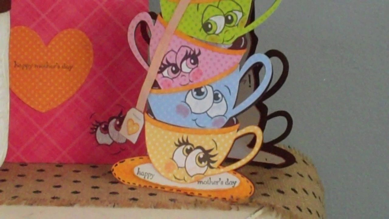 Mothers Day Card using MyScrapChick Stacking Tea Cups SVG!