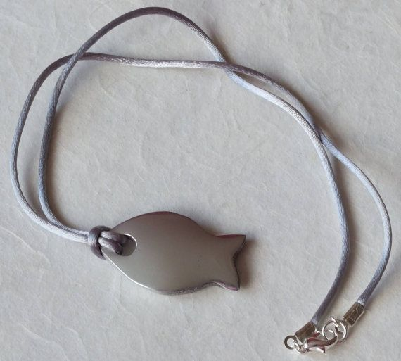 Large Silver Fish Pendant on Grey Silky Cord.  Necklace. on Etsy, £5.00