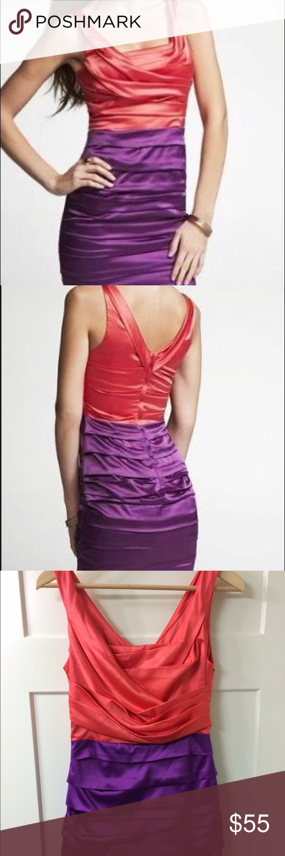 ✨ Express Ruched Purple/Coral Satin Cocktail Dress NWT   Satin ...