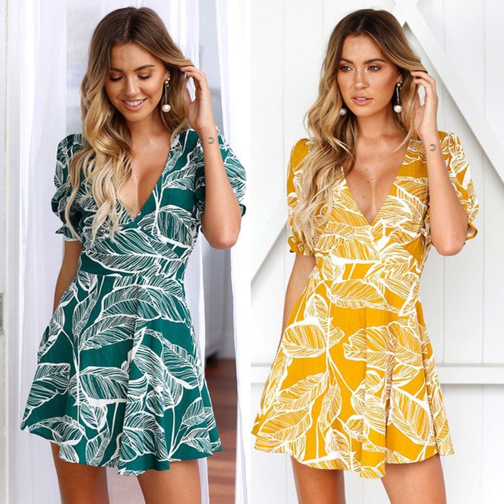 17cad801103 US Women Boho Floral Long Maxi Dress Evening Party Beach Dresses Summer  Sundress ❤US STOCK