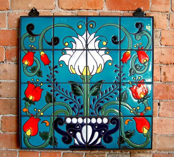 Mexican Talavera Style Fl Tiles By Carly Quinn Designs