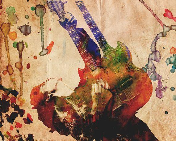 Jimmy Page Art Print Led Zeppelin Artwork Classic By Rockchromatic Zeppelin Art Led Zeppelin Art Led Zeppelin Artwork