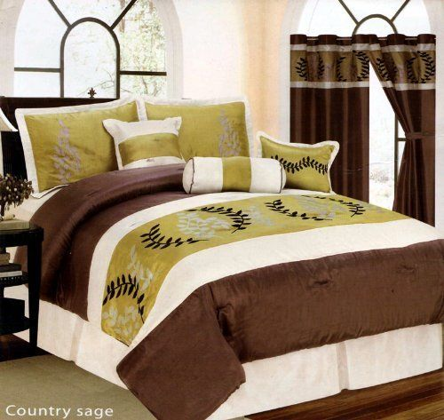 8 Homey Bedroom Ideas That Will Match Your Style: 7 PIECE BED IN A BAG SET, COUNTRY LANE SAGE GREEN / BROWN