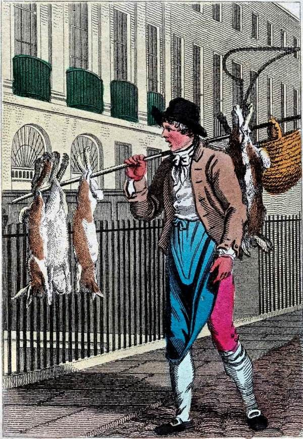 """""""Itinerant Traders of London in their Ordinary Costume with Notices of Remarkable Places given in the Background"""" by William Marshall Craig (1804): """"Rabbits – The crier of rabbits in the plate is a portrait well known by persons who frequent the streets at the west end of town. Wild and tame rabbits are sold from ninepence to eighteen pence each, which is cheaper than they can be bought in the poulterers' shops."""""""