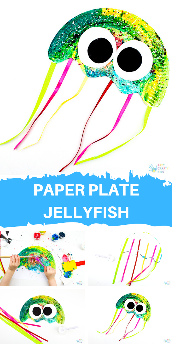 Easy Paper Plate Jellyfish Craft for Kids to Make  #animalcraftsforkids