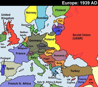 Map Of Europe 1939 Map of Europe. 1939. | Political map, World war, World war i