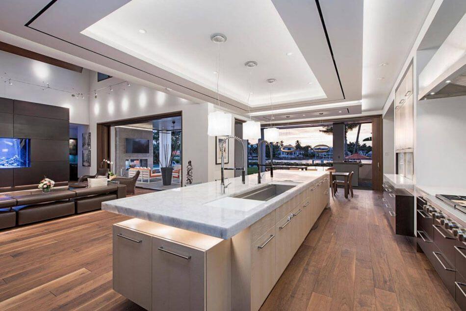 Magnifique r sidence de grand standing en floride au design int rieur et architecture inspir s - Comptoir cuisine americaine ...