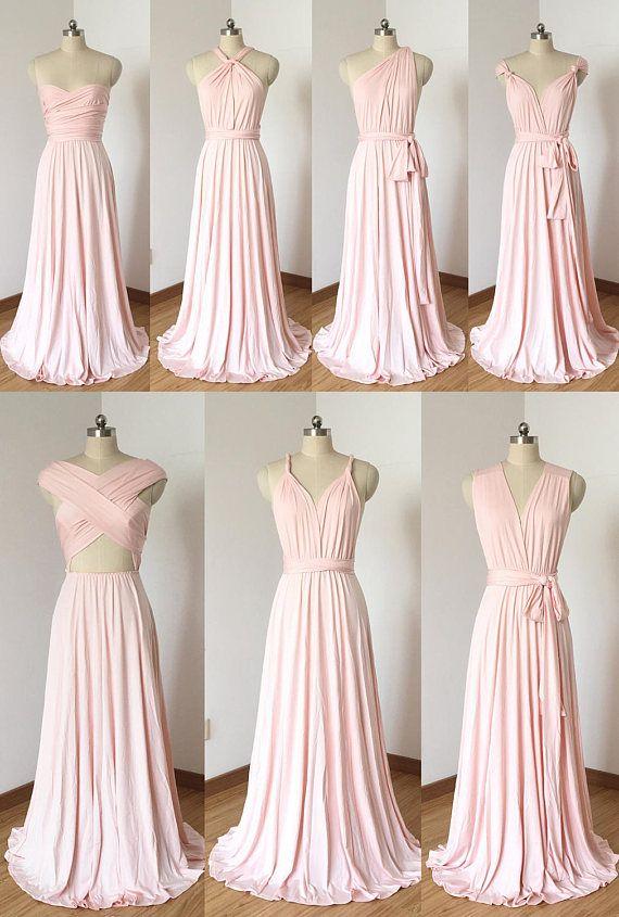 Erröten rosa Elasthan lange Cabrio Brautjungfernkleid