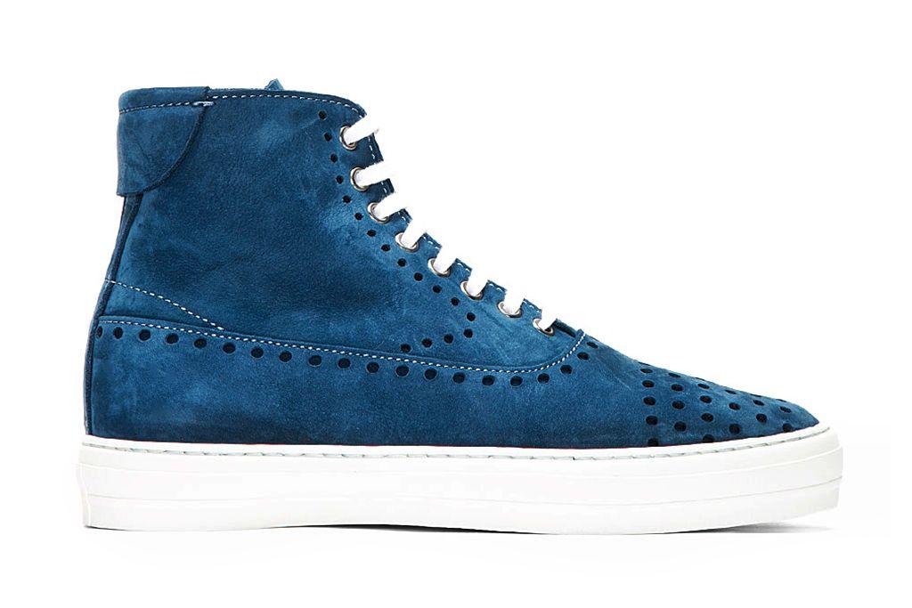 12a0b24d Alexander McQueen Blue Suede Perforated High-Top Sneakers. MensualZapatos  ParaZapatillasCalzadoTenisZapatillas De Deporte De Caña AltaZapato ...