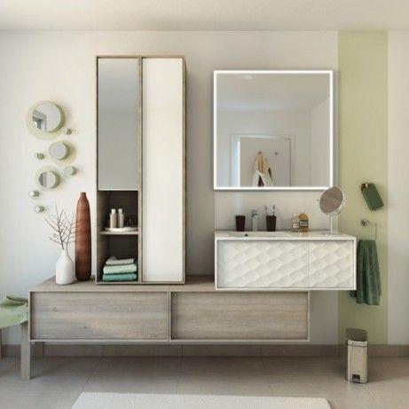 Meuble de salle de bains de 80 à 99, blanc   beige   naturels, Neo - salle de bain rouge et beige