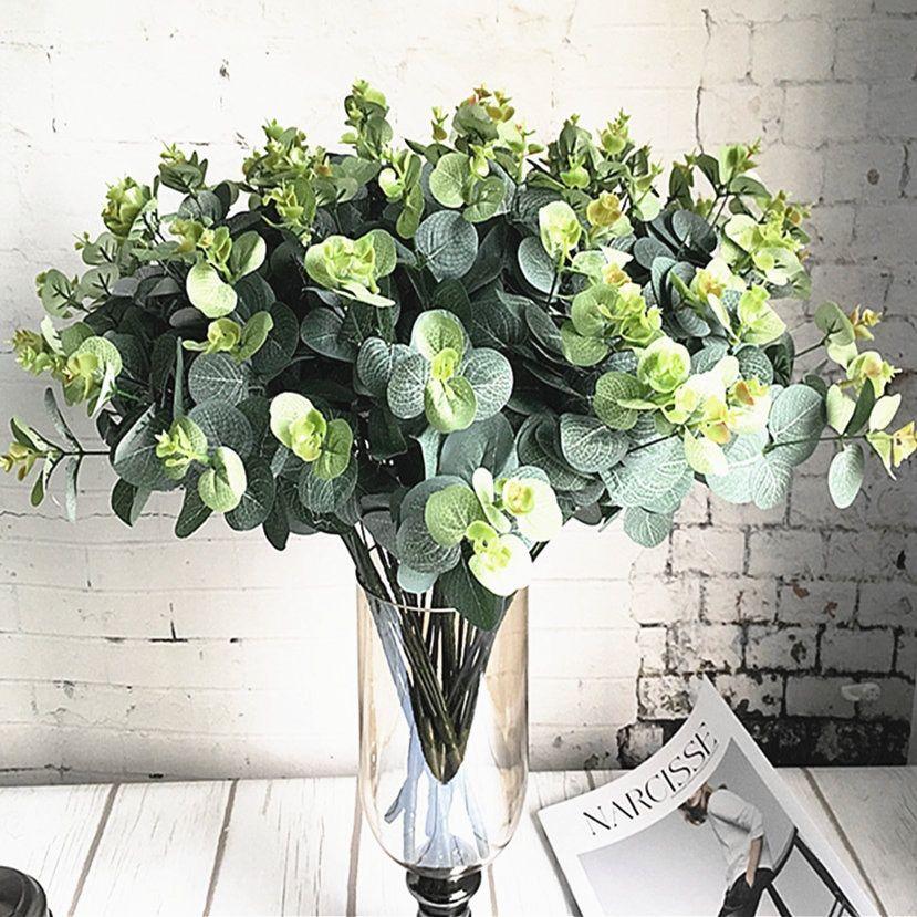 Fake Silk Flower Leaf Wedding Artificial Xmas Wreath Plant Eucalyptus Home Decor