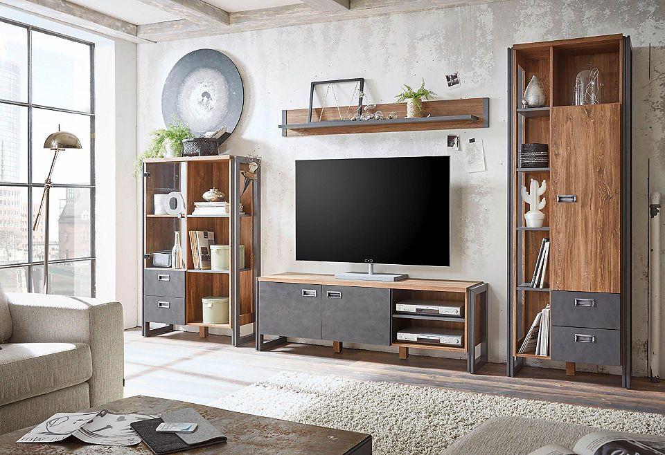 Home affaire 4-teilige Wohnwand »Detroit Set 3«, im angesagten - industrial look wohnzimmer