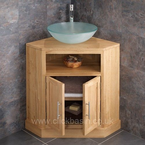 Cube Solid Oak Double Door Corner Freestanding Basin Unit With Round Frosted Www Clickbasin Co