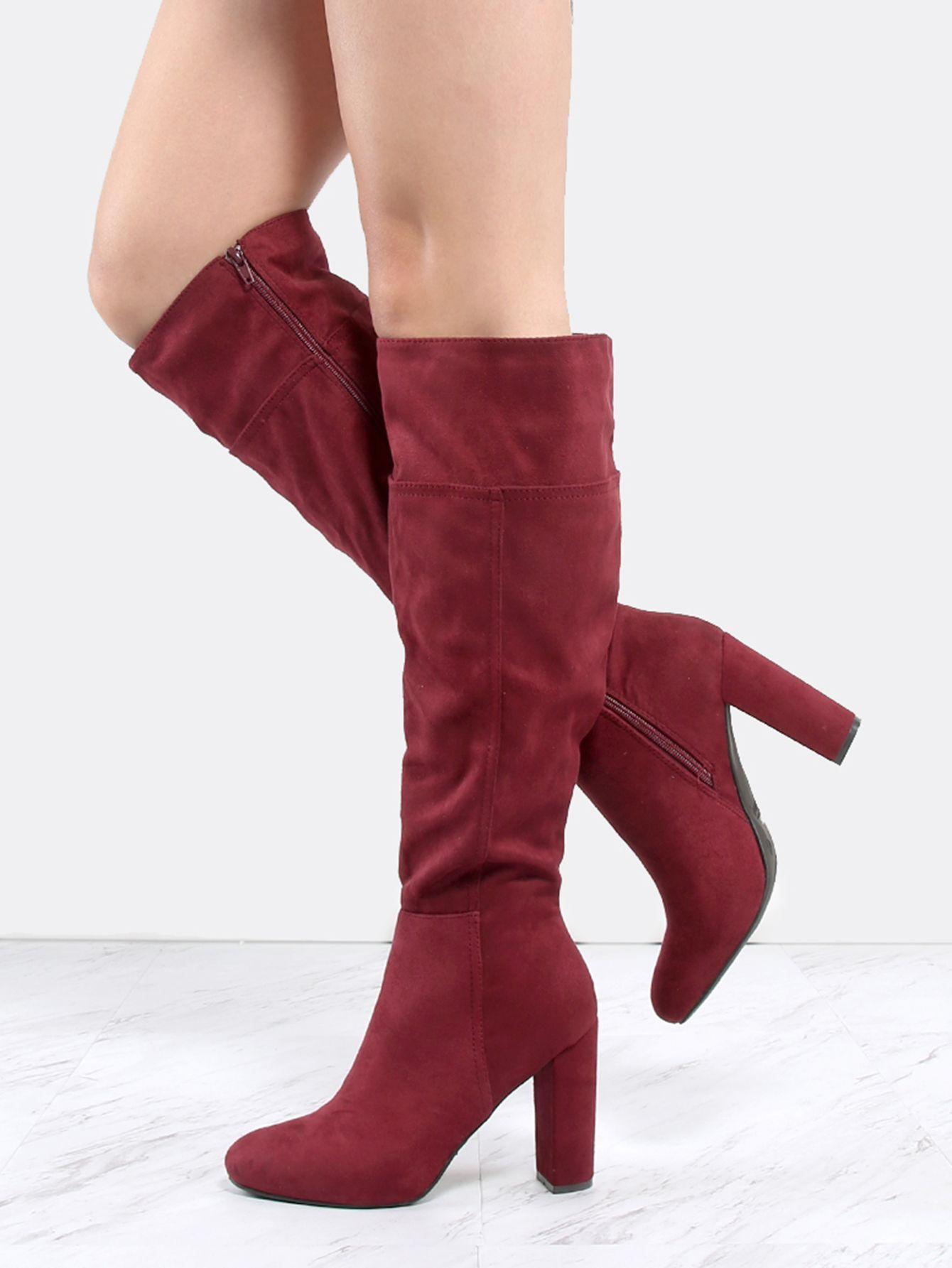 4dc0afb962 Faux Suede Chunky Heel Knee Boots BURGUNDY -SheIn(Sheinside ...