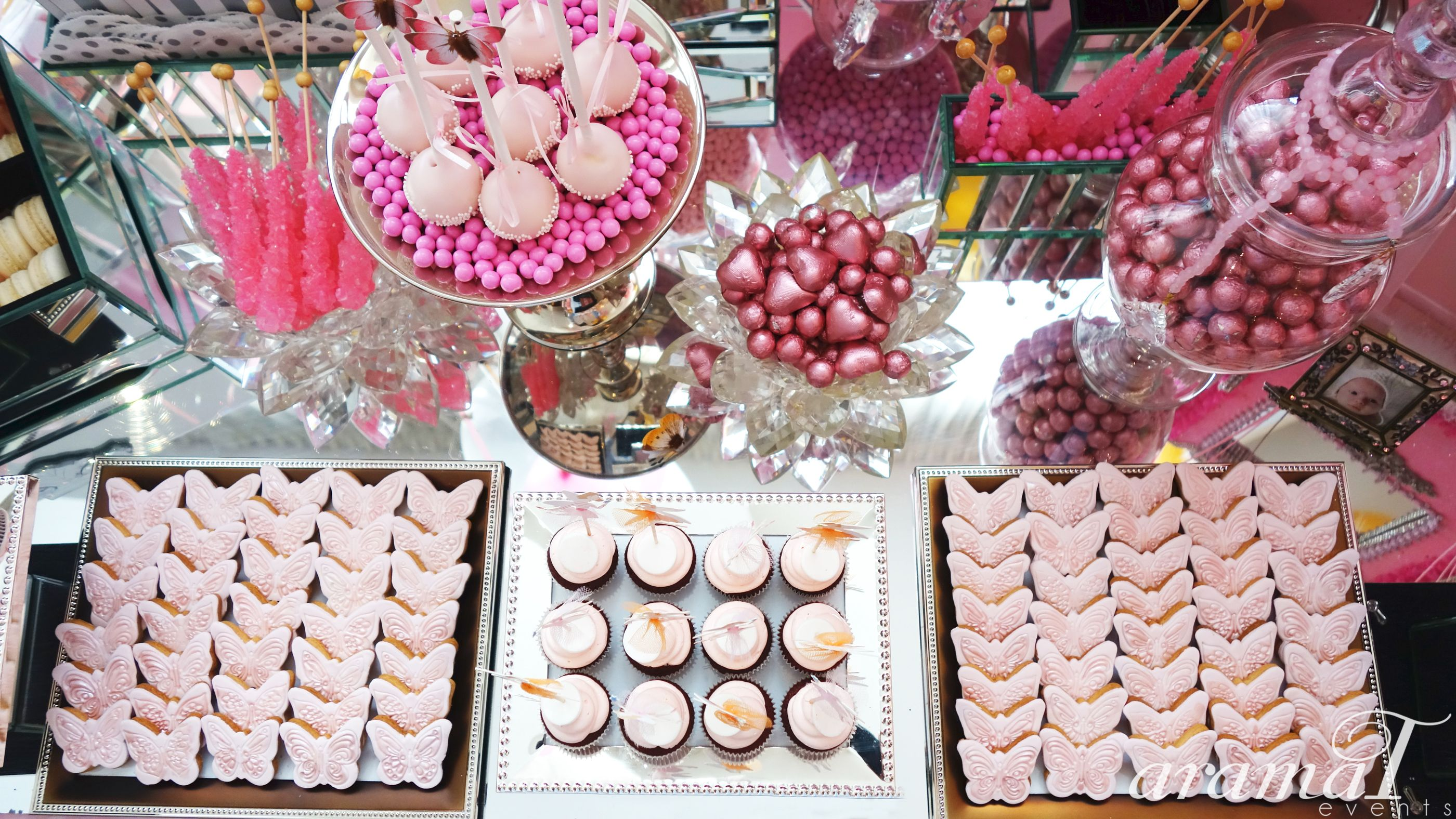 Dessert bar for a sweet girls 1 year old birthday party