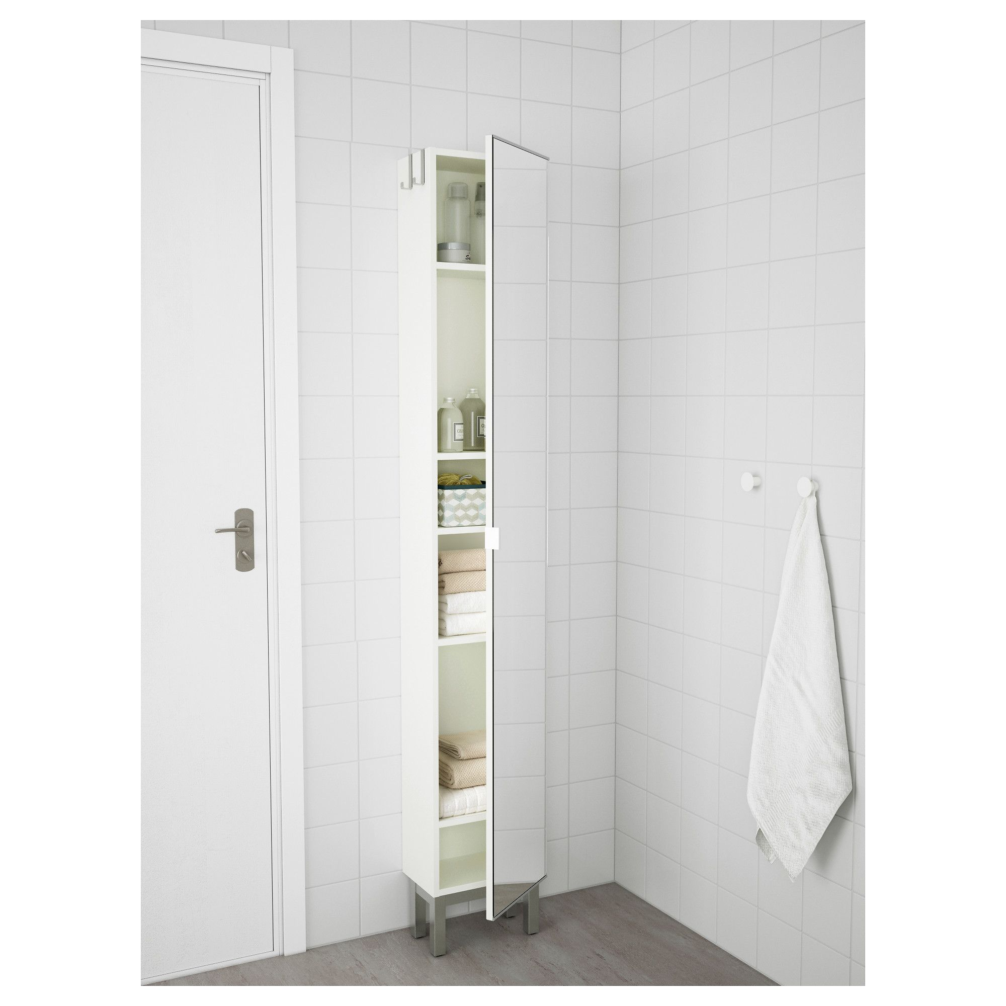 LILL…NGEN High cabinet with mirror door White 30x21x179 cm