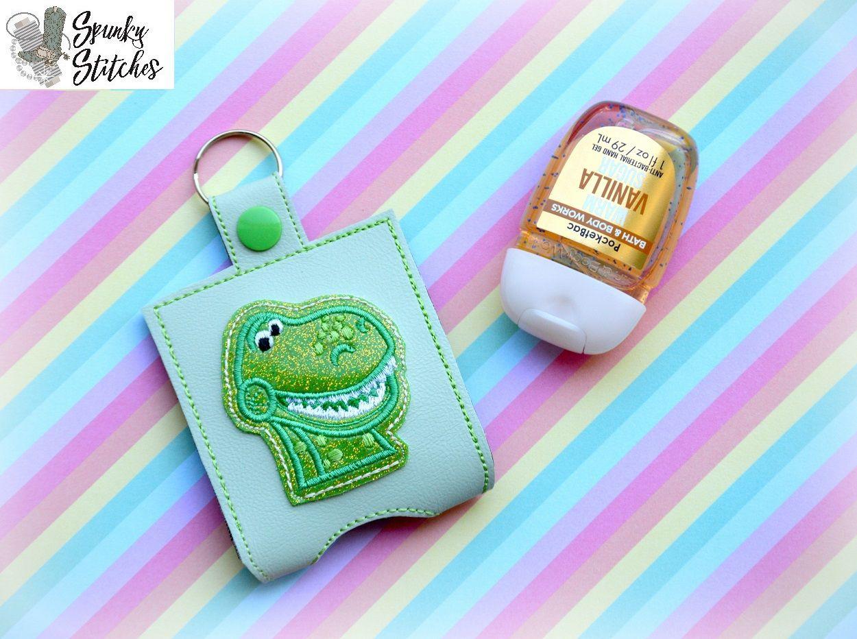 Toy Dino Sanitizer Holder Key Fob Spunky Stitches Designs Hand