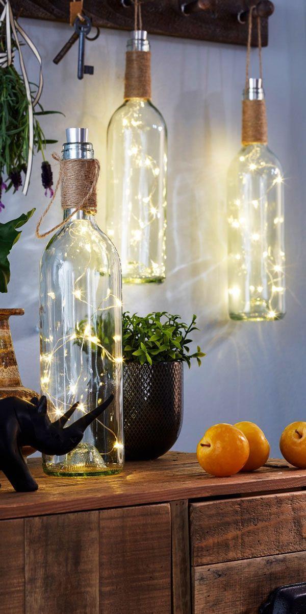LED-Deko-Weinflasche mit hübschem Lichteffekt - transparent