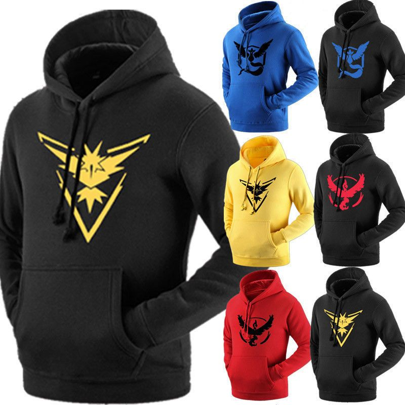 Pokemon Go Team Valor Mystic Instinct Pokeball Hoodies Sweaters Pullover Hooded