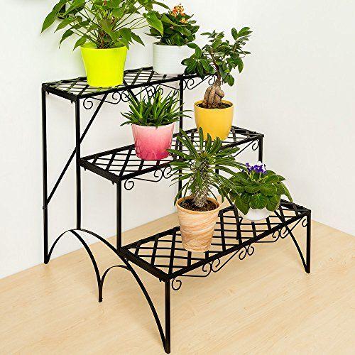 Tectake 3 Tier Metal Garden Plant P*T Display Shelf Stand 400 x 300