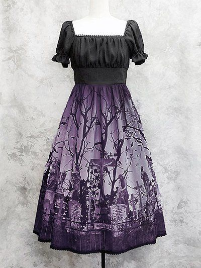 Moi-même-Moitié - Sleeping Garden Long One-Piece Black x Purple Print