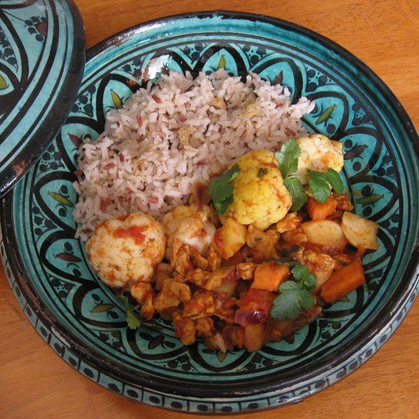 Curry vegetarien de légumes et protéines de soja