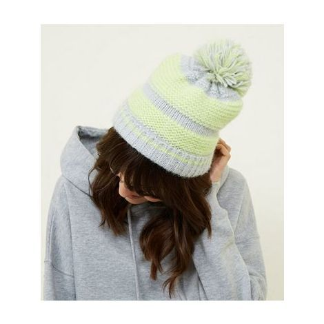 c7510ade4bb New Look Green Neon Space Dye Bobble Hat