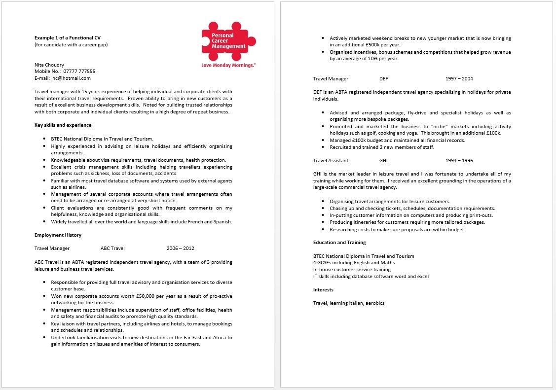 Functional cv template for those with a career gap having