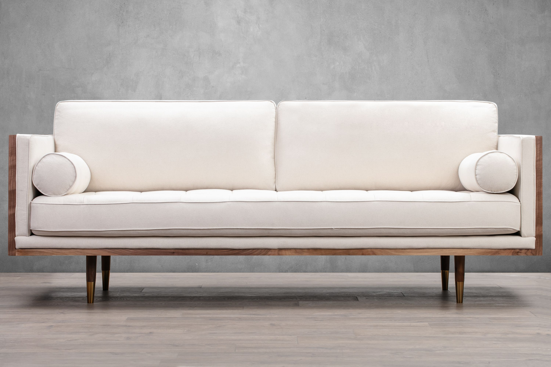 Woodrow Skandi 87 Fabric Sofa Walnut Canvas Linen Kardiel Fabric Sofa Mid Century Modern Furnishing Leather Sofa